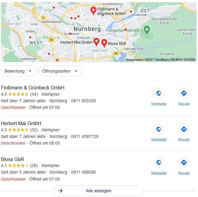 Beispiel einer lokalen Suchanfrage mit Google Maps
